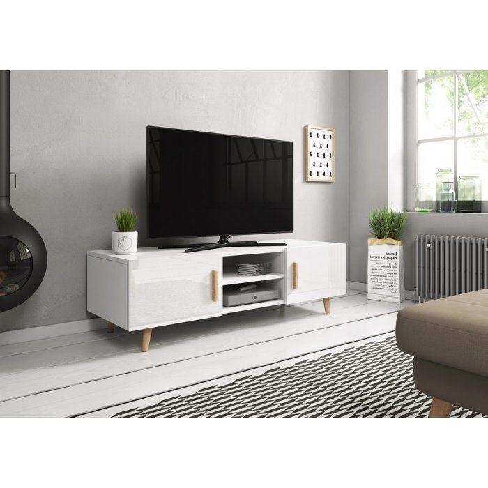 Szafka RTV Sweden II - biały/biały połysk