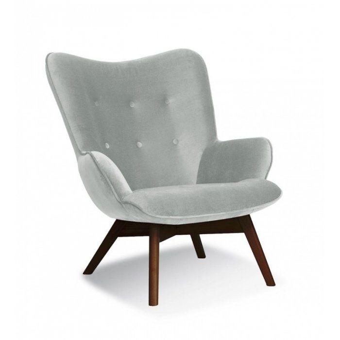 Fotel CHERUB - Srebrny + noga orzech