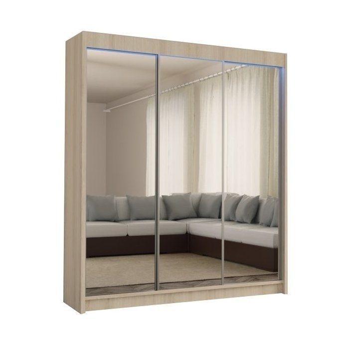 Szafa przesuwna z lustrem do sypialni Denver 180cm DĄB SONOMA - zdjęcie