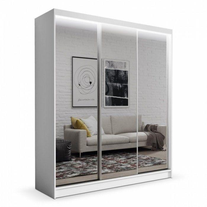 Szafa przesuwna z lustrem do sypialni Denver 180cm BIAŁA - zdjęcie