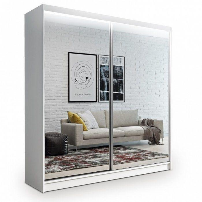 Szafa przesuwna z lustrem Denver 200 cm biała - zdjęcie