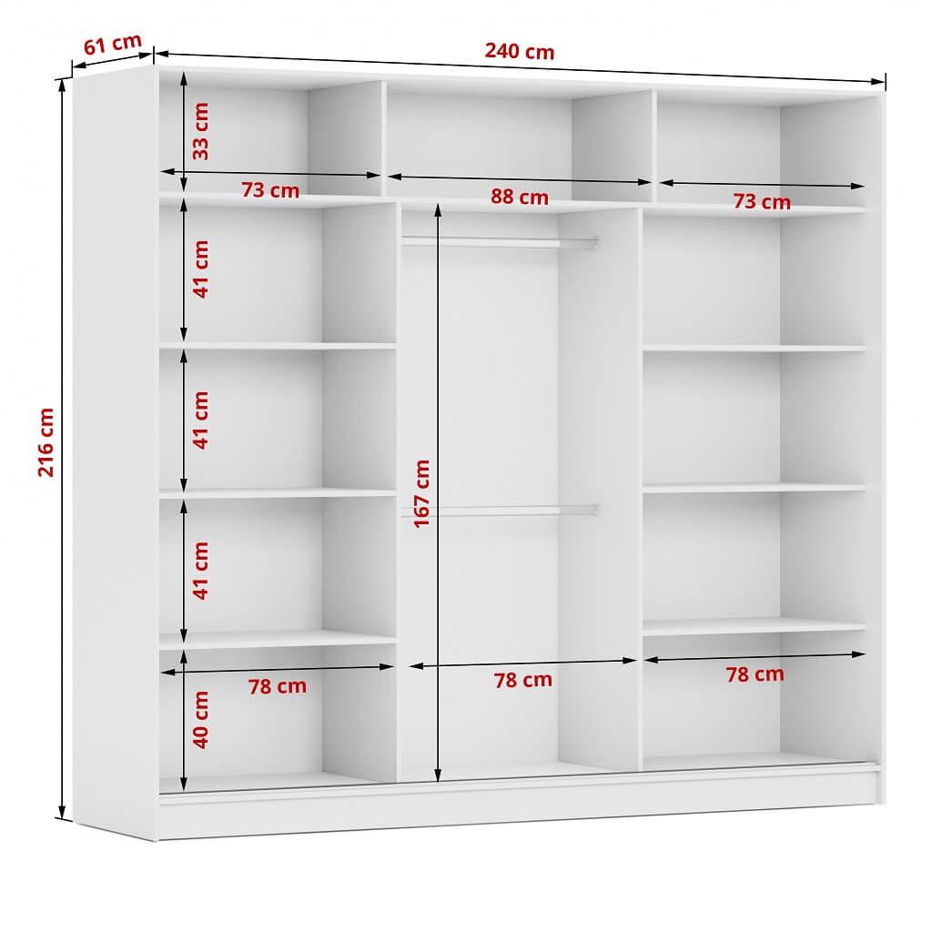 Wnętrze szafy Denver 240 i szczegółowe wymiary
